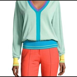 DVF Turquoise Color Block V Neck Stripe Sweater